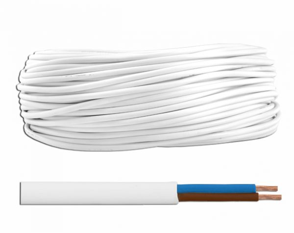 Cablu electric de joasa tensiune, MYYM, 2×0,75 mm2 – rola 100 m Tip: MYYM Sectiune cablu: 2×0,75 Lungime: 100 m Culoare: ALB