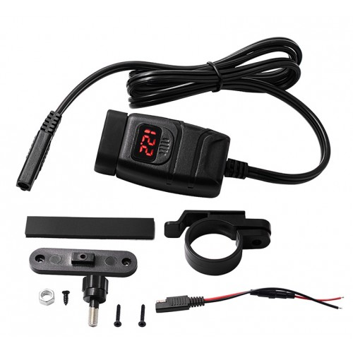 Priza moto Auto Road AR-0-181-06, Dual USB, QC 3.0, Voltmetru, 2