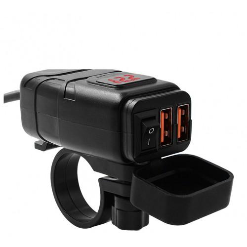 Priza moto Auto Road AR-0-181-06, Dual USB, QC 3.0, Voltmetru, 4