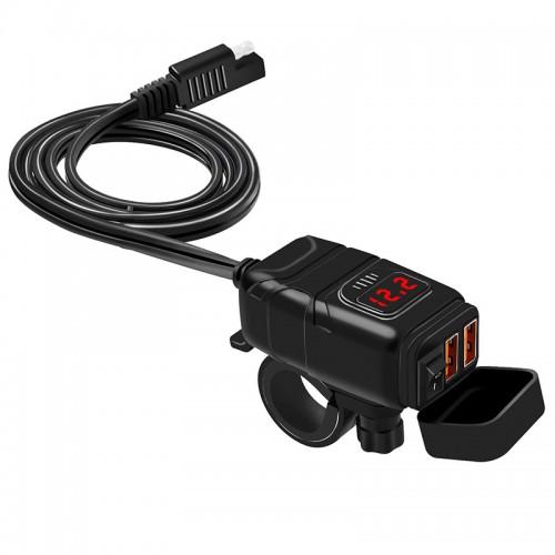 Priza moto Auto Road AR-0-181-06, Dual USB, QC 3.0, Voltmetru