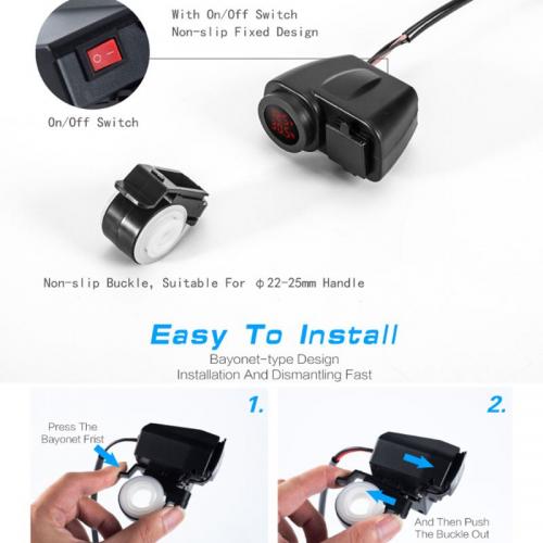 Priza moto Auto Road AR-W-YUK-R, DUAL USB, 6
