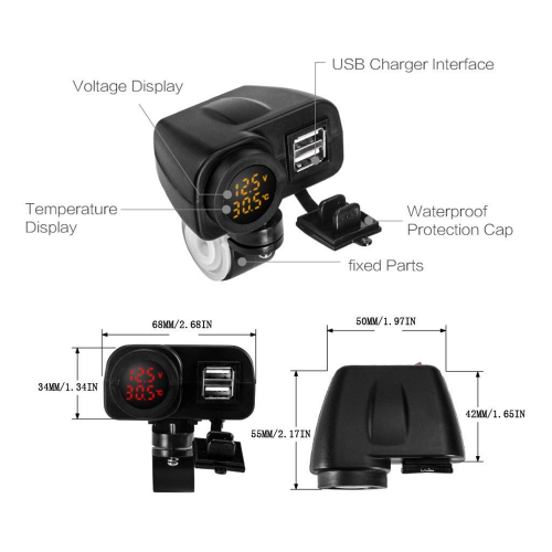 Priza moto Auto Road AR-W-YUK-R, DUAL USB, 7
