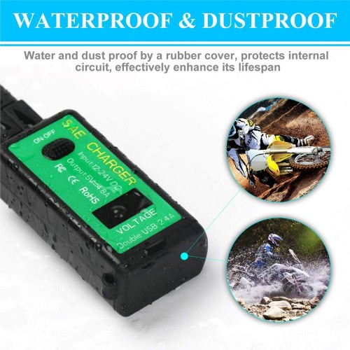 Priza moto Auto Road AR0-18, DUAL USB, Voltmetru, Fast Charge 2 x 2.4A 7