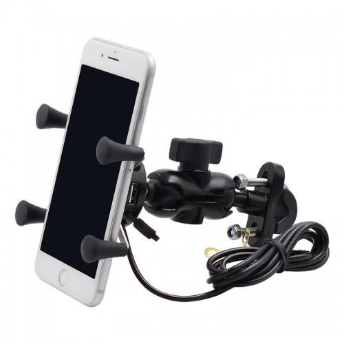 Suport telefon Auto Road AR-A3 cu priza USB de 2.1 A 5